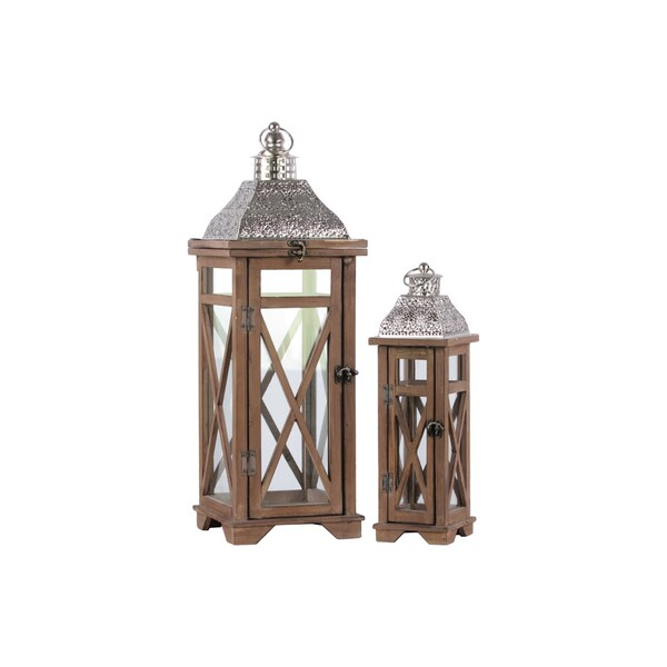 Natural Wood Finish/ BrownWood Square Lantern with Silver Pierced Metal Top and Ring Hanger (Set of 2)