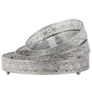 Urban Trends Collection Silver Metal Round Tray with Mirror Surface and Elevated Pierced Metal Sides (Pack of 3)
