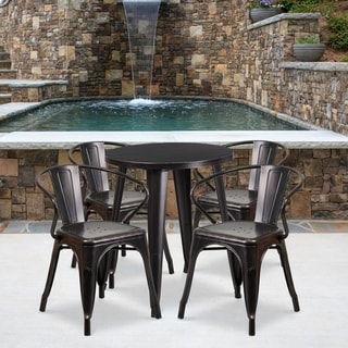 24-inch Round Black-Antique Gold Metal Indoor-Outdoor Table Set with 4 Arm Chairs