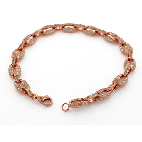 "Suzy Levian Pave Cubic Zirconia Rose Sterling Silver Gucci Link 7"" Bracelet - Pink"