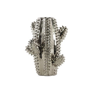 Urban Trends Collection Silver Ceramic Cactus-shaped Vase