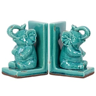 Urban Trends Gloss Finish Turquoise Stoneware Elephant Bookends (Set of 2)