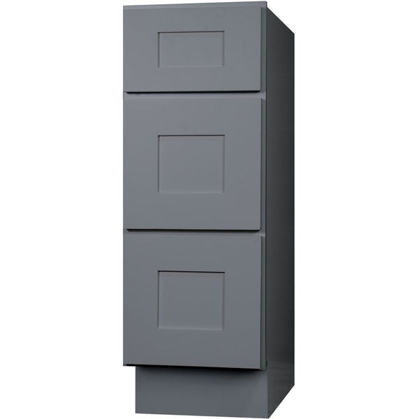 Everyday Cabinets 15 Inch Gray Shaker Bathroom Vanity Drawer Base Cabinet