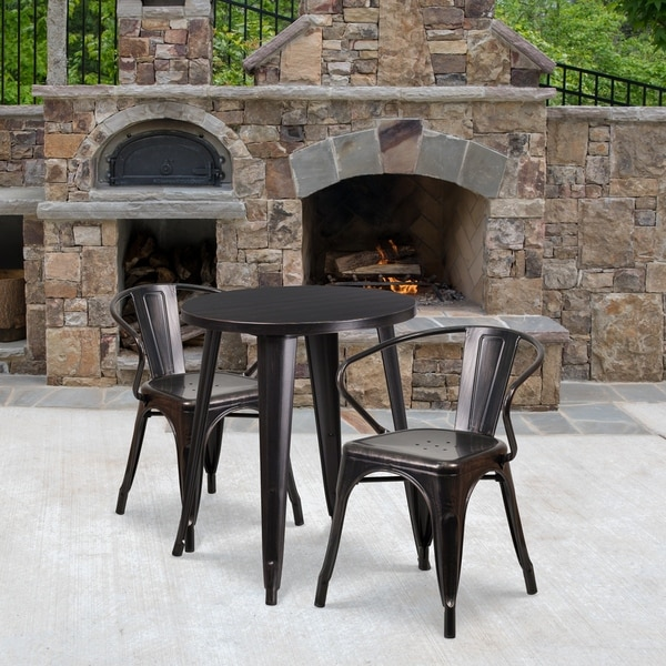 24'' Round Metal Indoor-Outdoor Table Set with 2 Arm Chairs