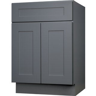 Everyday Cabinets 30-inch Gray Shaker Single Sink Bathroom Vanity Cabinet