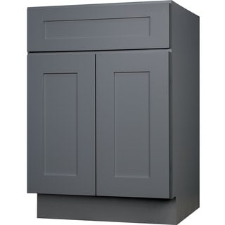Everyday Cabinets 27-inch Gray Shaker Single Sink Bathroom Vanity Cabinet