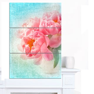 Designart 'Peony Flowers Merged to Blue' Floral Canvas Artwork Print
