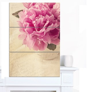 Designart 'Peony Flowers in Vase on Table' Floral Canvas Artwork Print