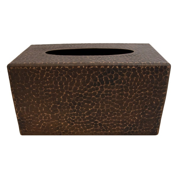 Large Rectangular Hand-hammered Copper Tissue Box Cover