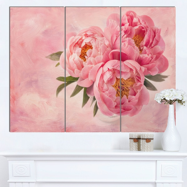 Designart 'Peony Flowers in Vase on Pink' Floral Canvas Artwork Print