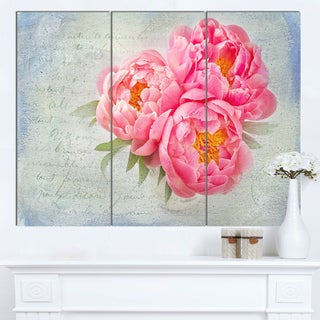 Designart 'Pink Peony Flowers in White Vase' Floral Canvas Artwork Print