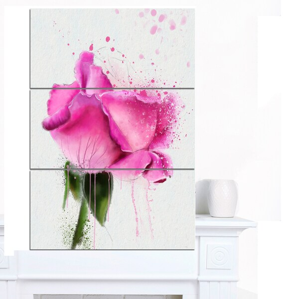 Designart 'Beautiful Pink Rose Watercolor' Flower Canvas Print Artwork