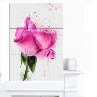 Designart 'Beautiful Pink Rose Watercolor' Flower Canvas Print Artwork