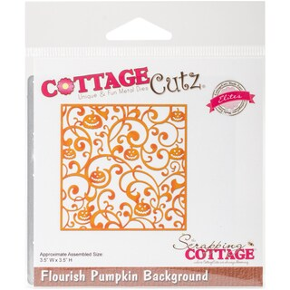 "CottageCutz Elites Die -Flourish Pumpkin Background, 3.5""X3.5"""