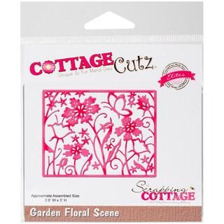 """CottageCutz Elites Die -Garden Floral Scene, 3.9""""X3"""""""