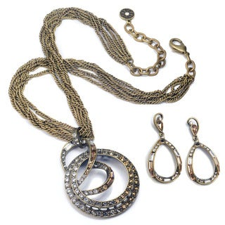 Sweet Romance Art Deco Mid Century Modern Slinky Spiral Necklace and Earrings Set