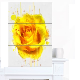 Designart 'Beautiful Rose in Yellow Watercolor' Flower Canvas Print Artwork