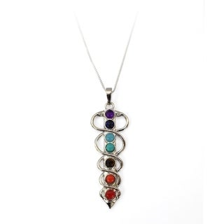 7 Stone Chakra Healing Point Rieki Bead Gemstone Pendant Fit Necklace Sword