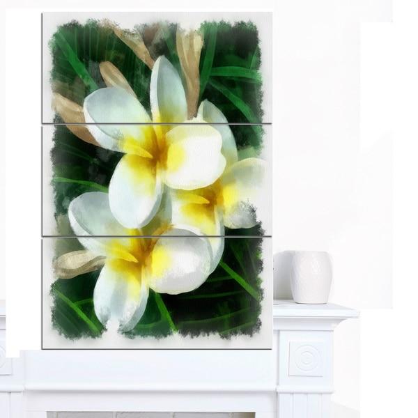 Designart 'Cute Frangipani Flowers Watercolor' Flower Canvas Print Artwork - Yellow/White/Green