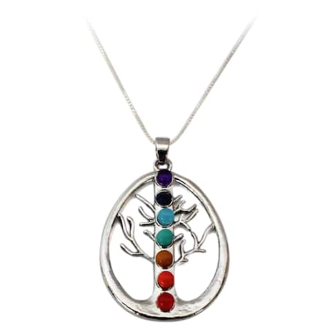7 Stone Chakra Gemstone Pendant Sterling Silver Tree Of Life Necklace