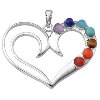 7 Stone Chakra Healing Point Rieki Bead Gemstone Pendant Fit Necklace Heart