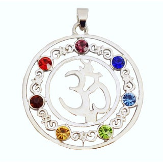 7 Stone Chakra Healing Point Rieki Bead Gemstone Pendant Fit Necklace Crystal Glass OM Symbol