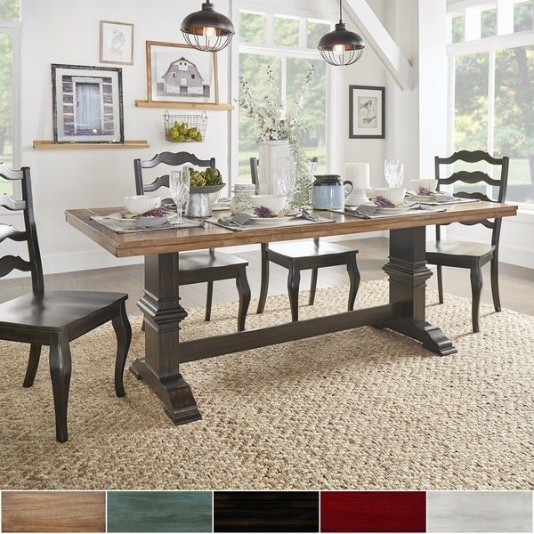 Rectangular Dining Table With Bench: Eleanor Two-tone Rectangular Solid Wood Top Dining Table