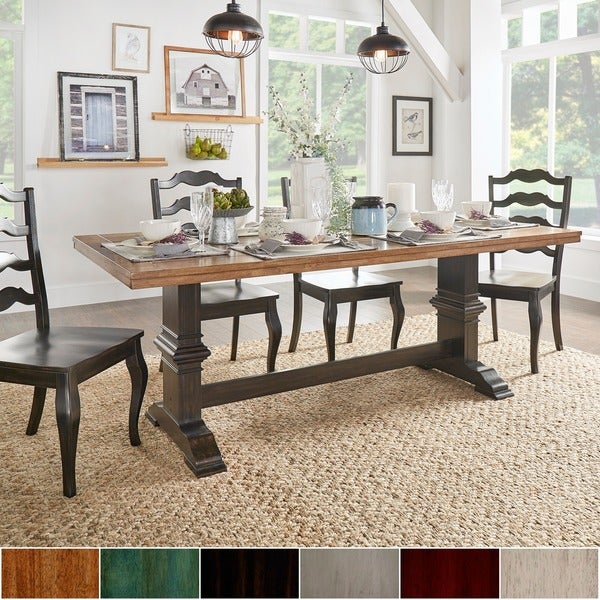 Eleanor Two-tone Rectangular Solid Wood Top Dining Table by ...