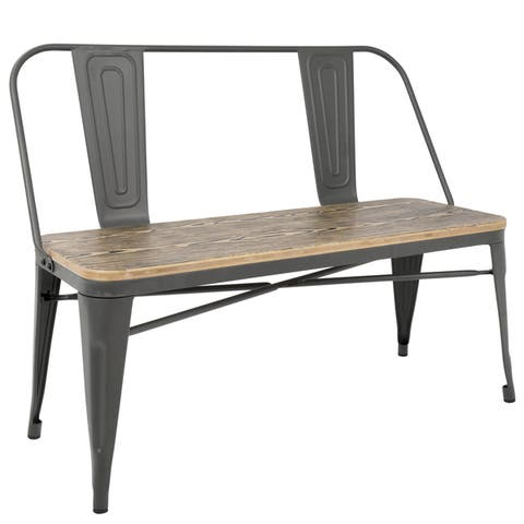 Carbon Loft Boyer Industrial Metal and Wood Dining/ Entryway Bench