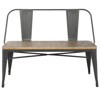 LumiSource Oregon Industrial Grey Metal and Wood Dining/ Entryway Bench