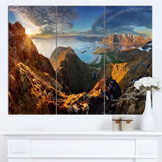 Designart 'Ocean and Mountains Panorama' Large Landscape Canvas Art