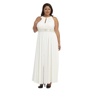 R&M Richards Women's White Plus-size Beaded Evening Gown
