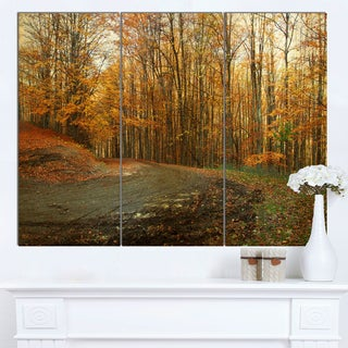 Designart 'Curving Road in Autumn Forest' Large Forest Canvas Art