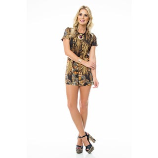 Sara Boo Multicolored Polyester/Spandex Animal Print Romper