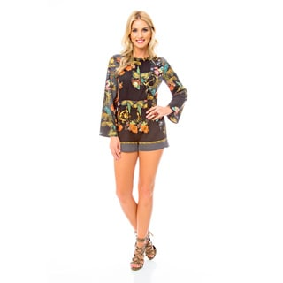 Sara Boo Black Polyester and Spandex Floral Romper