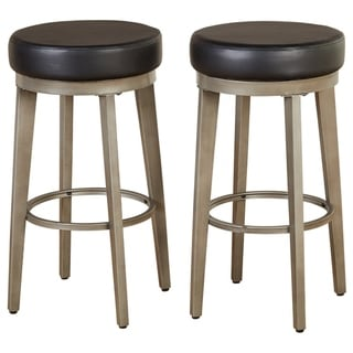 ANGELOHOME angelo:HOME Linden Brushed Grey Leather Swivel Stool (Set of 2) (Black - Counter Height - 23-28 in.)