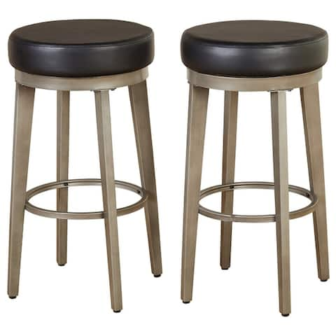angelo:HOME Linden Brushed Grey Leather Swivel Stool (Set of 2)