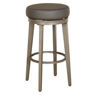 ANGELOHOME angelo:HOME Linden Brushed Grey Leather Swivel Stool (Set of 2) (Grey - Bar Height - 29-32 in.)