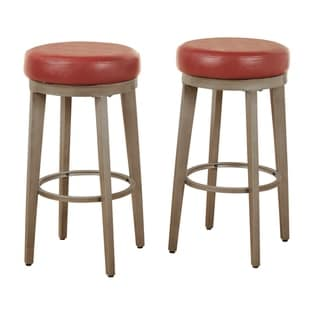 ANGELOHOME angelo:HOME Linden Brushed Grey Leather Swivel Stool (Set of 2) (Red - Bar Height - 29-32 in.)