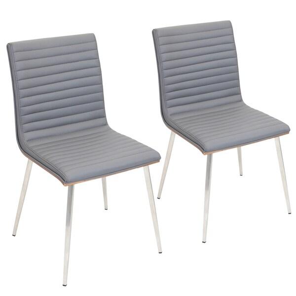Mason Grey Swivel Chair Stainless Steel & Walnut Wood (Set of 2)