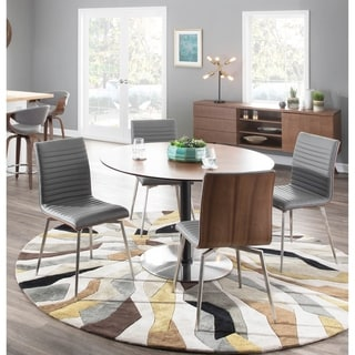Mason Walnut Wood Stainless Steel Dining Chair with Swivel (Set of 2)