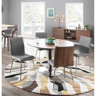 Mason Stainless Steel & Walnut Wood Dining Chair with Swivel (Set of 2)