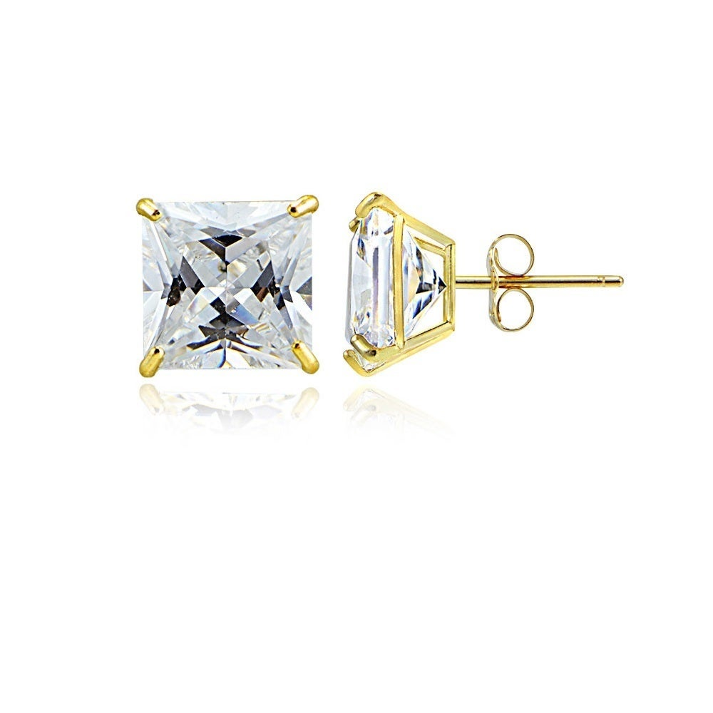 Details about  /14K Two-Tone Gold Fancy with CZ Stud Post Earrings MSRP $349