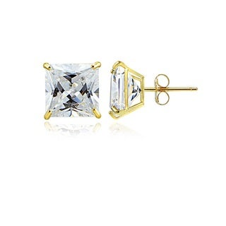 14k Gold and Cubic Zirconia Stud Earrings