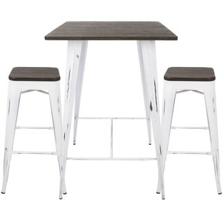 Oregon 3-piece Industrial Pub Set with Vintage White Frame and Espresso Wood