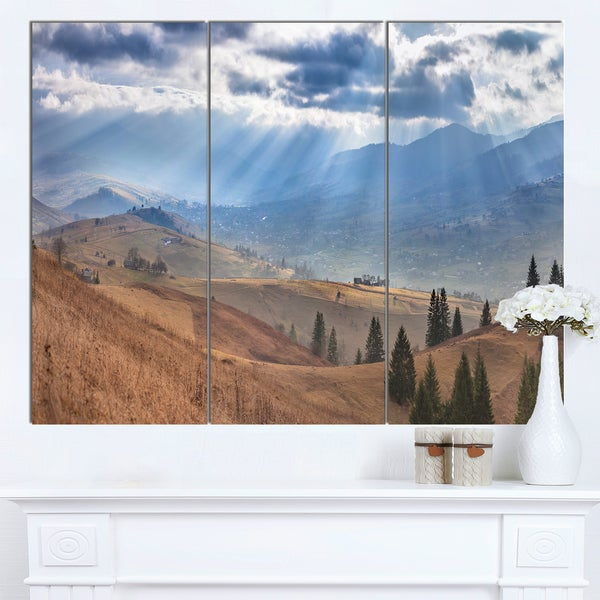 Designart 'Beautiful Mountain Village View' Large Landscape Canvas Art - Blue