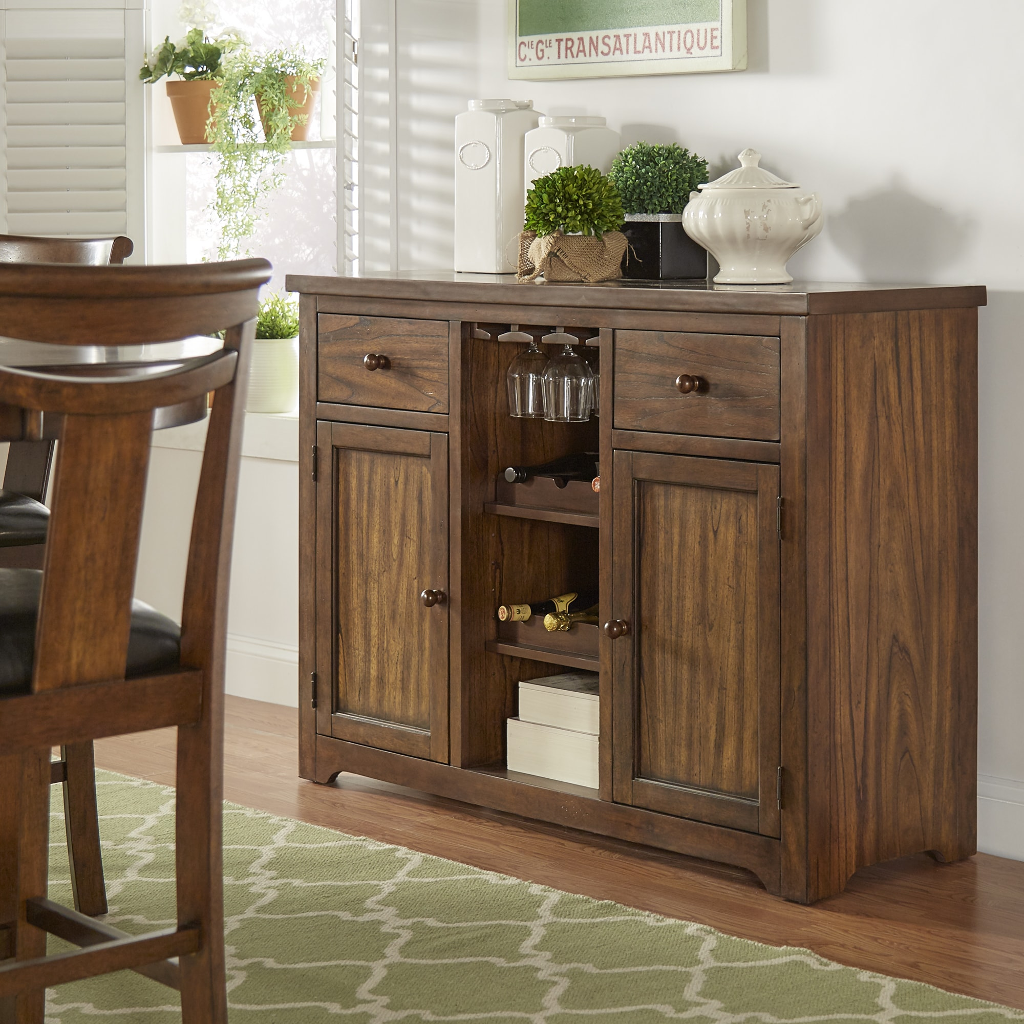 Tuscany Brown Wood Wine Rack Buffet Server by iNSPIRE Q C...