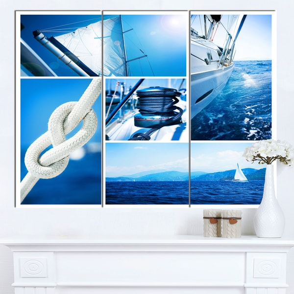 Designart 'Sailing Yacht in Blue Sea Collage' Large Seashore Canvas Wall Art