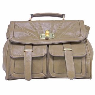 Donna Bella Designs Women's Blake Beige Faux Leather Shoulder Bag