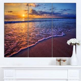 Designart 'Sunset over Blue Seashore' Seashore Canvas Artwork Print